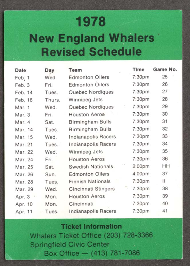 1978 New England Whalers Revised Schedule card