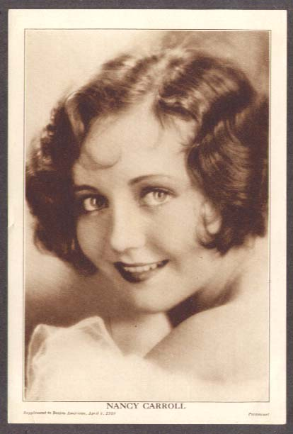 Actress Nancy Carroll sepia print Boston American 1930