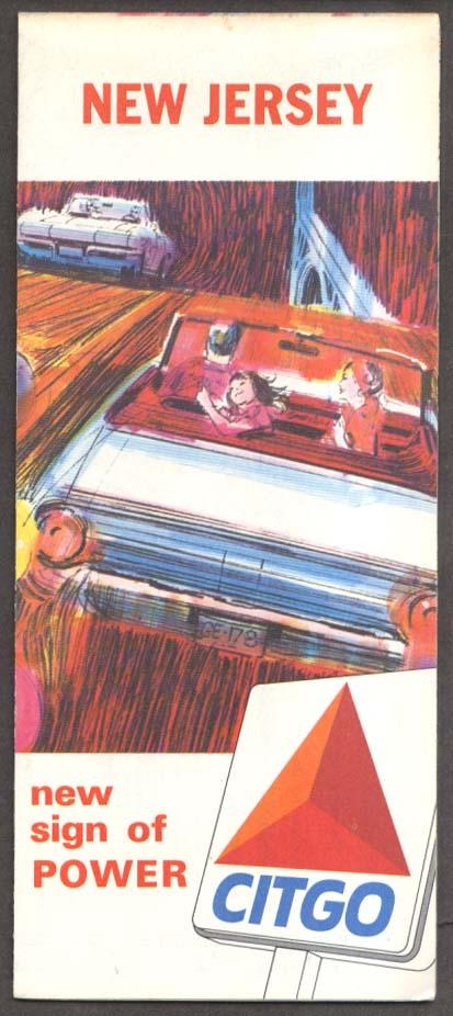 Citgo Gasoline Road Map New Jersey 1965