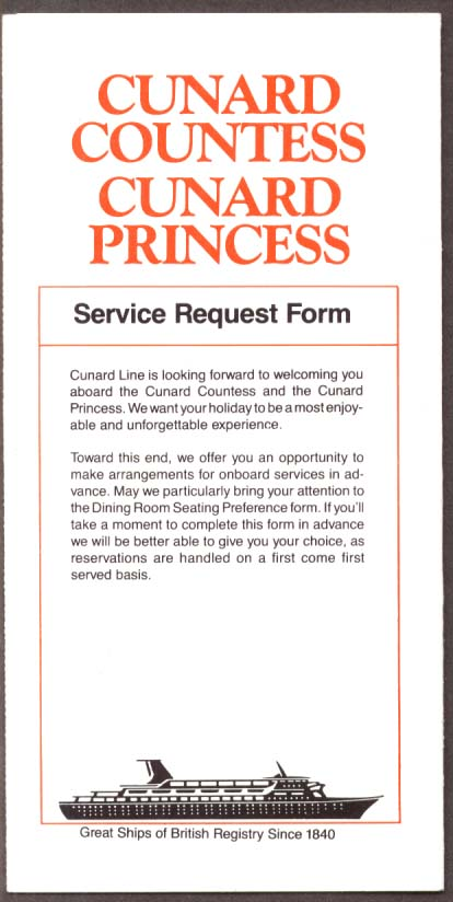 Cunard  Countess & Princess Service Request Form 1982