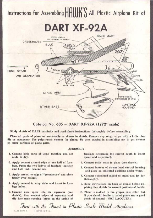 Hawk Plastic Model Dart XF-92A Assembly sheet 1950s