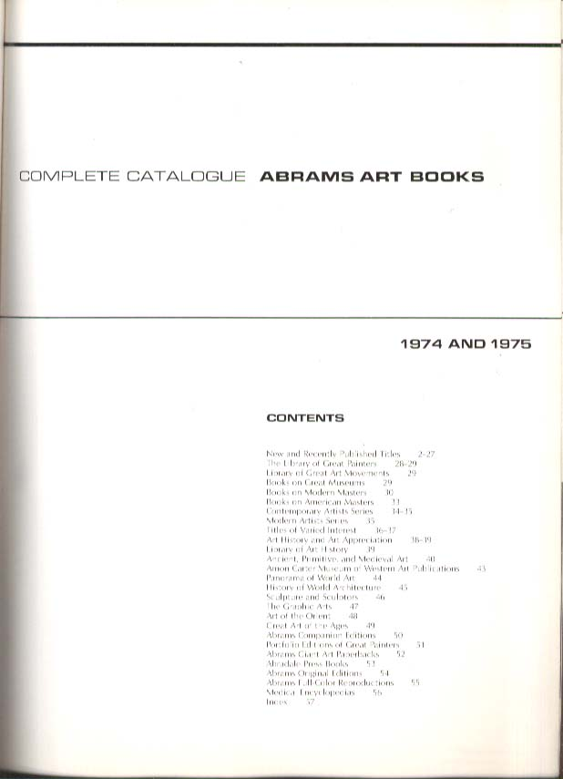 Abrams Art Books Catalog 1974 1975
