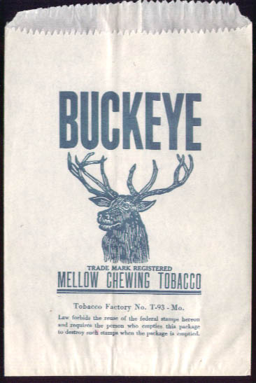 Buckeye Mellow Chewing Tobacco unused pouch MO