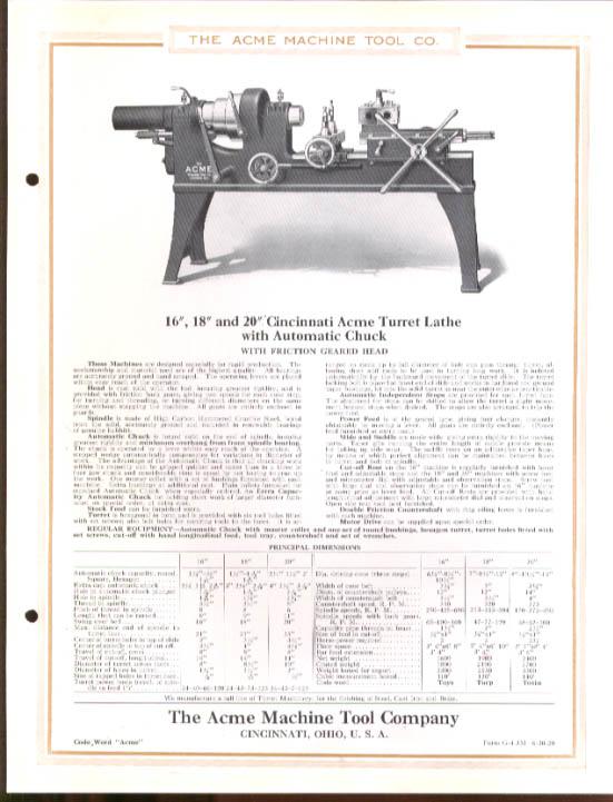 Cincinnati Acme Turret Lathe Auto Chuck sheet 1920 #2