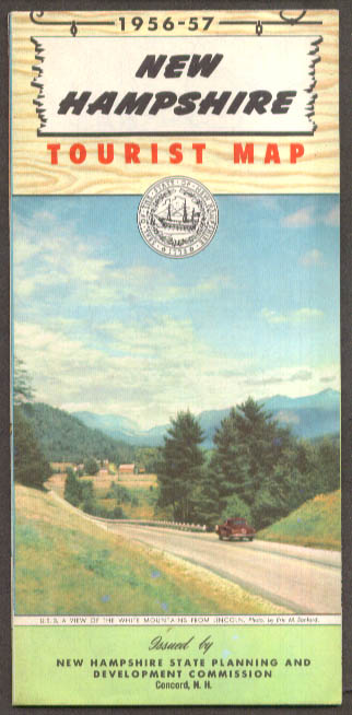 State of New Hampshire Official Tourist Road Map 1956-7