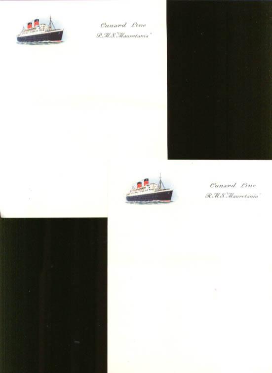 Cunard R M S Mauretania notepaper 2 sheets ca 1950s