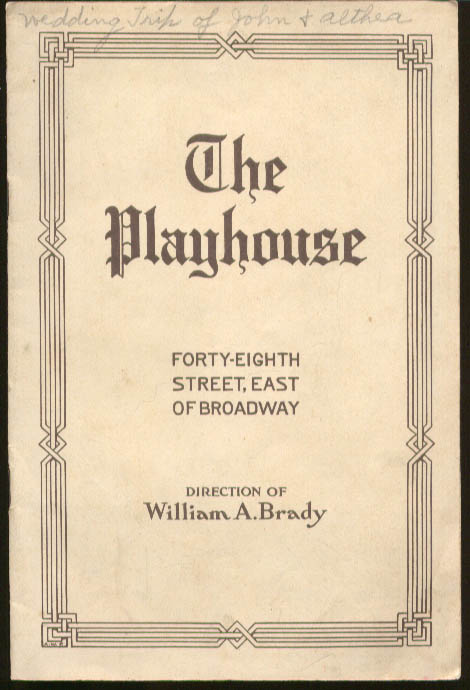 Alice Brady Sinners The Playhouse Playbill NYC 1915