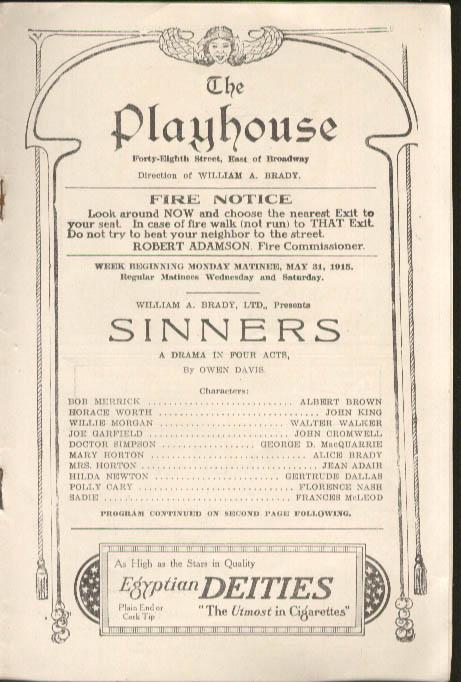 Alice Brady Sinners The Playhouse Playbill NYC 1915