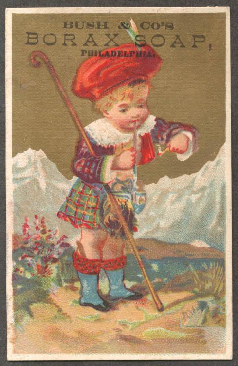 Bush & Co Borax Soap trade card Scots boy pipe 1880s