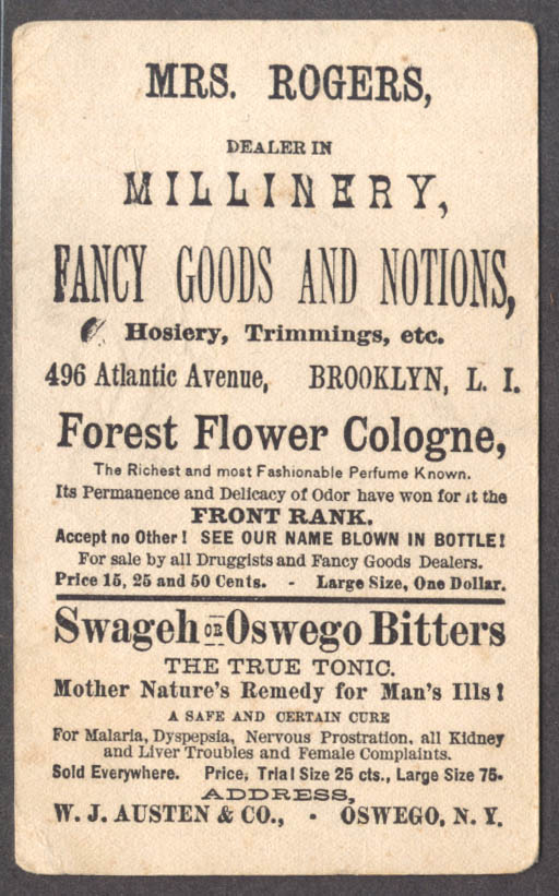 Austen's Forest Flower Cologne trade card Oswego NY