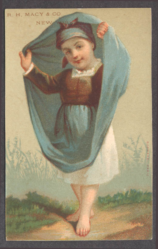 Image for R H Macy & Co New York trade card girl blue dress