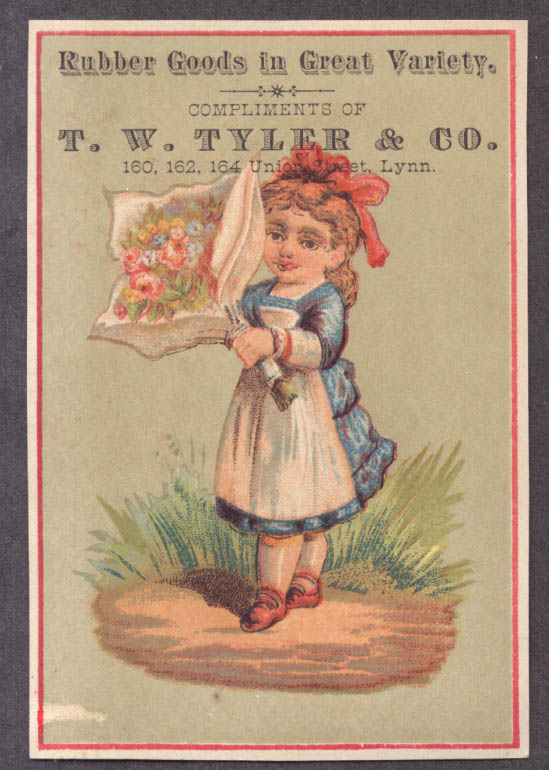 Image for T W Tyler Rubber Goods Lynn MA trade card girl bouquet