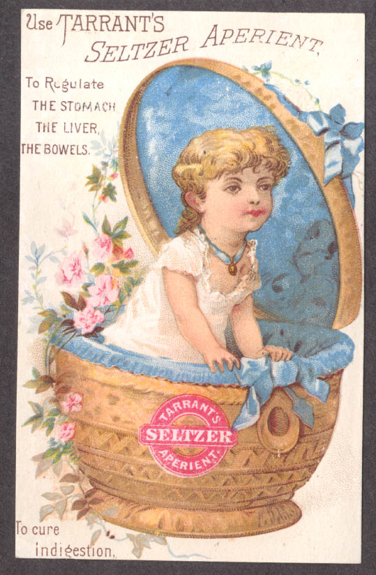 Tarrant's Seltzer Aperient trade card girl in basket