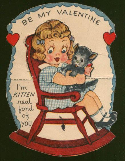 Image for Kitten Real Fond folding Valentine cat girl rocker 1930s