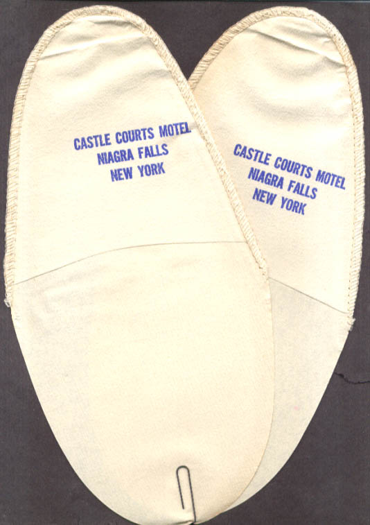 Castle Courts Motel Niagara Falls paper slippers 1950s