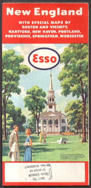 Esso Gasoline New England Road Map 1955-1956