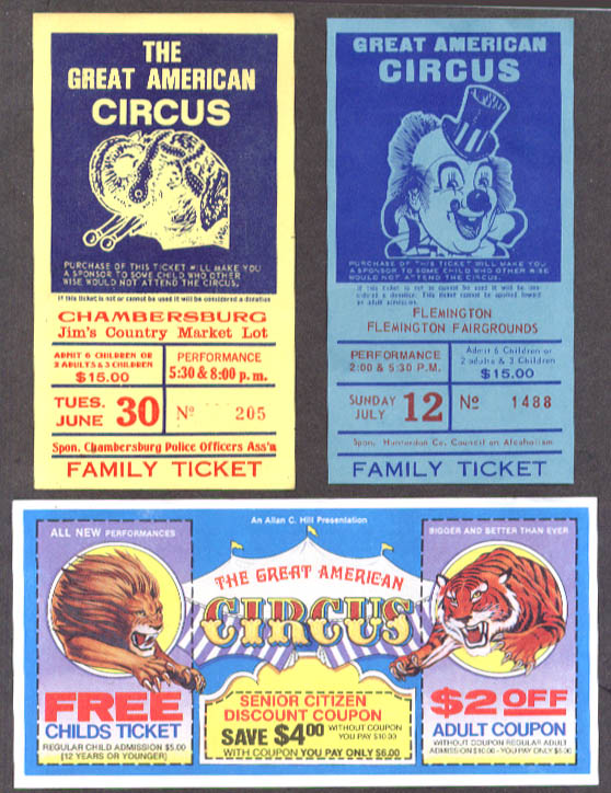 Image for Great American Circus ticket lot of 6 various dates