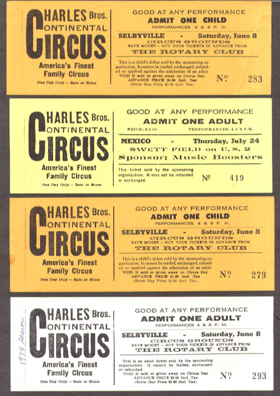 Charles Bros Circus group of five tickets various sites