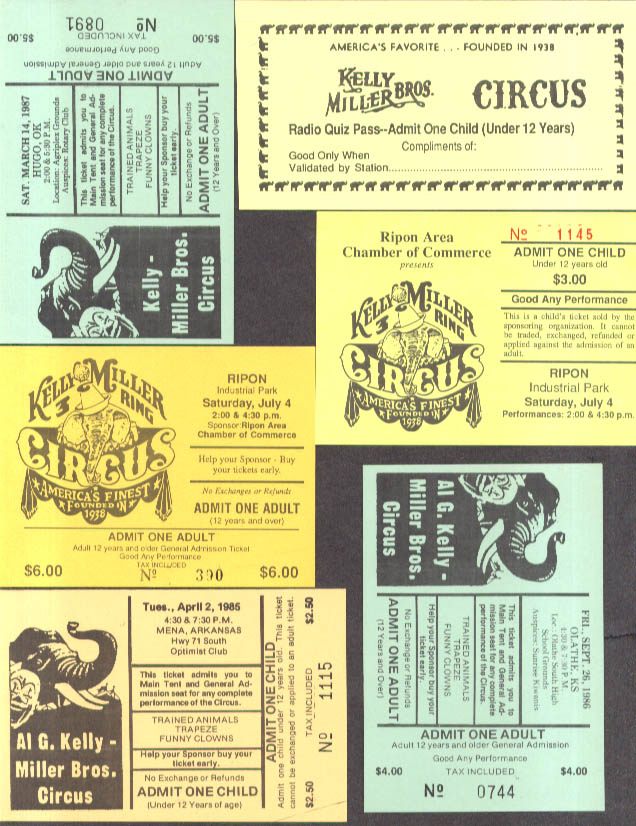 Kelly-Miller Bros Circus six different tickets & passes