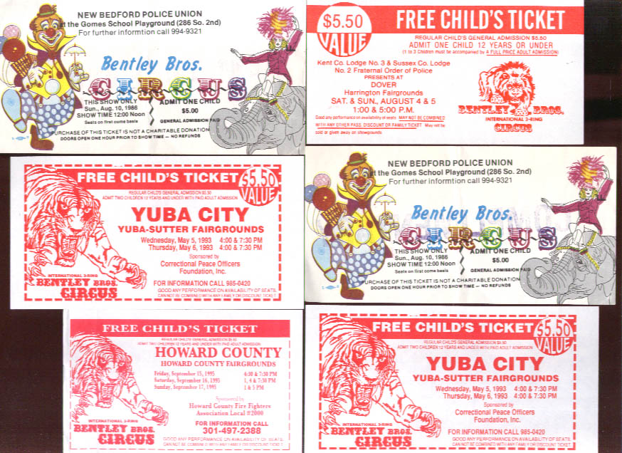 Bentley Bros Circus six tickets & passes