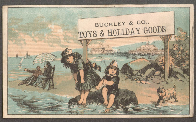 Buckley & Co Toys & Holiday Goods trade card children at beach resort 1880s