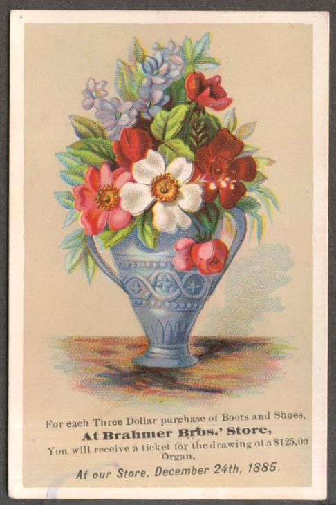 Brahmer Bros Boots & Shoes $125 organ drawing trade card 1885