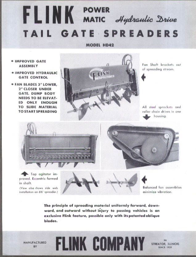 Flink Hydraulic-Drive Tail-Gate Spreaders sales folder ca 1950s