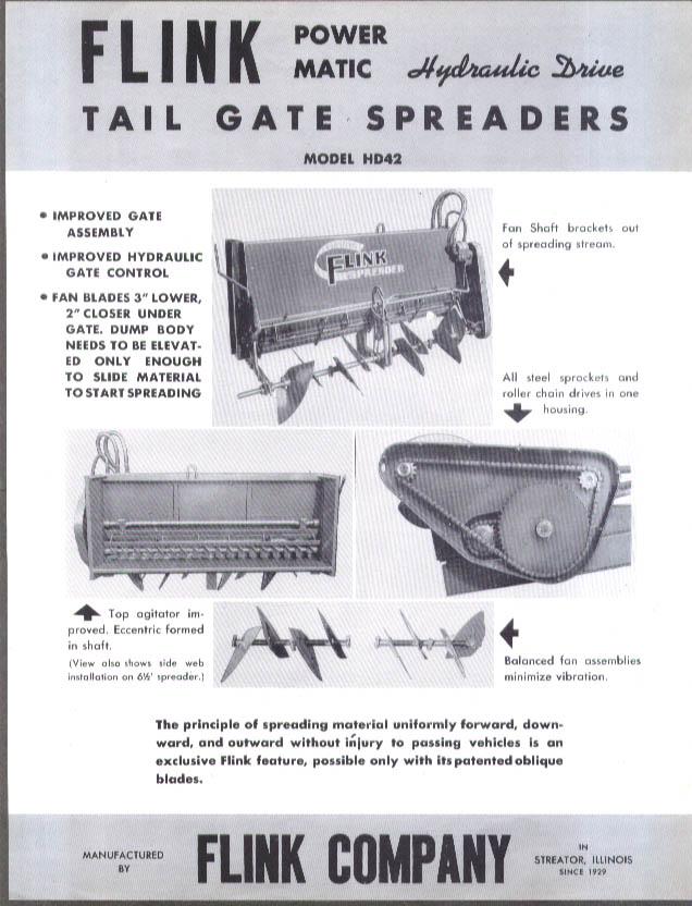Flink Hydraulic-Drive Tail-Gate Spreaders sales folder ca 1950s
