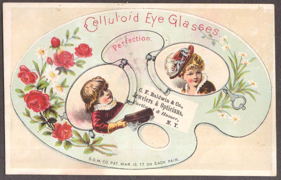 C F Baldwin Celluloid Eyeglasses Cortland Homer NY trade card 1877 youths