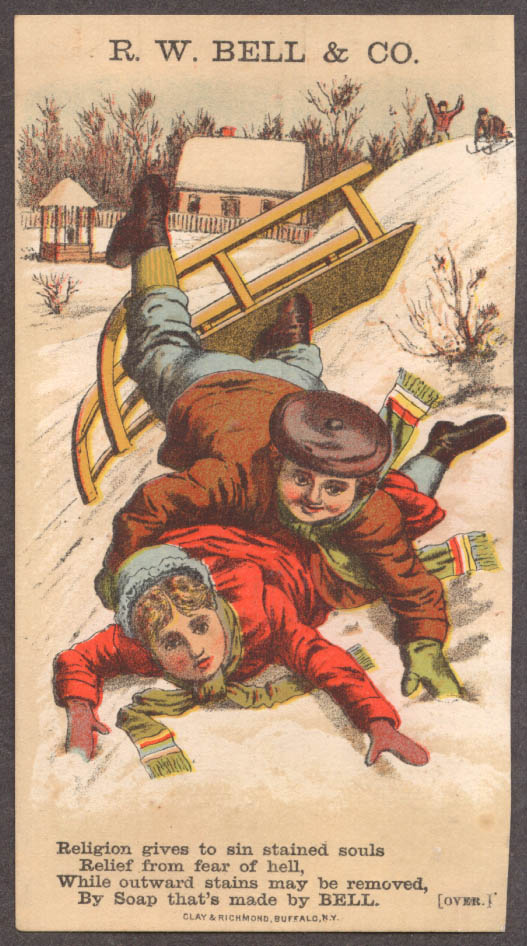 Bell Soap R C Osborn 48c tea & boots & shoes trade card 1880s crashed sled