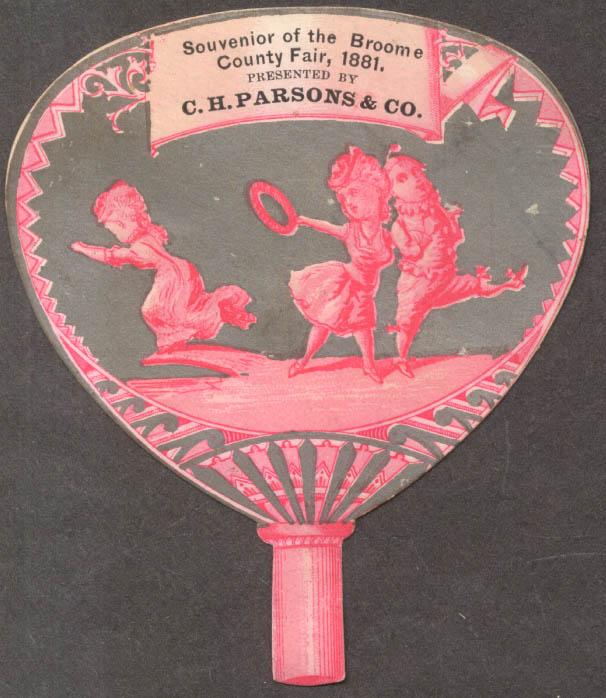 C H Parsons Broome County Fair souvenir fan-shaped trade card 1881 NY