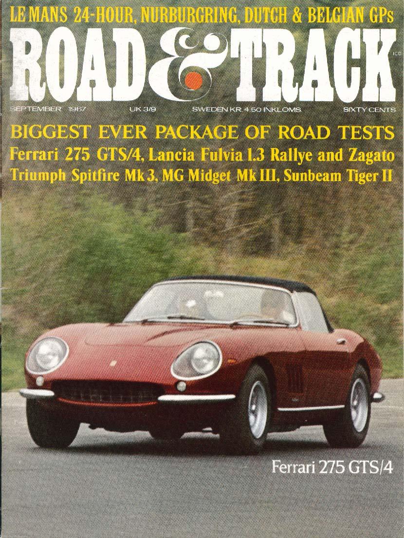 Road & Track Ferrari 275 Gts/4 Lancia Sunbeam Mg 9 1967