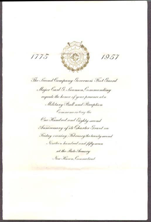 2nd CT Governors Foot Guard Military Ball invite 1957