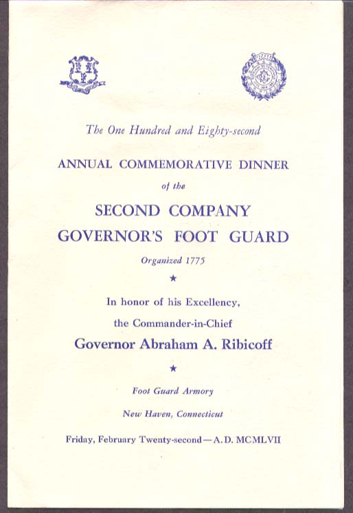 2nd CT Governors Foot Guard Military Ball Program 1957