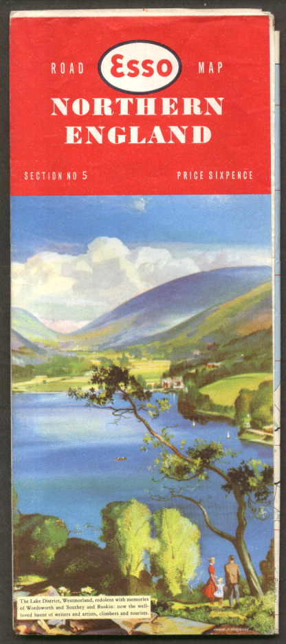 Esso Gasoline Road Map Northern England 1958