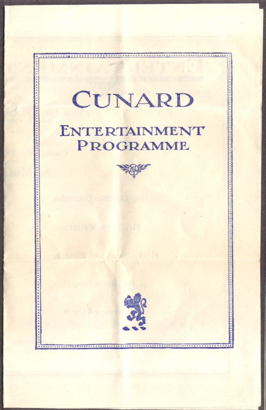 Cunard R M S Laconia Daily Programme 7/28 1928