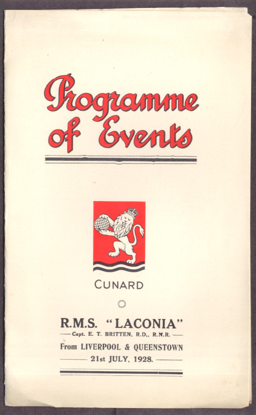 Cunard R M S Laconia Weekly Programme 1928