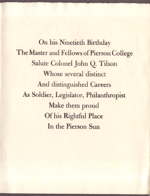 Col John Q Tilson 90th Birthday Pierson College 1956
