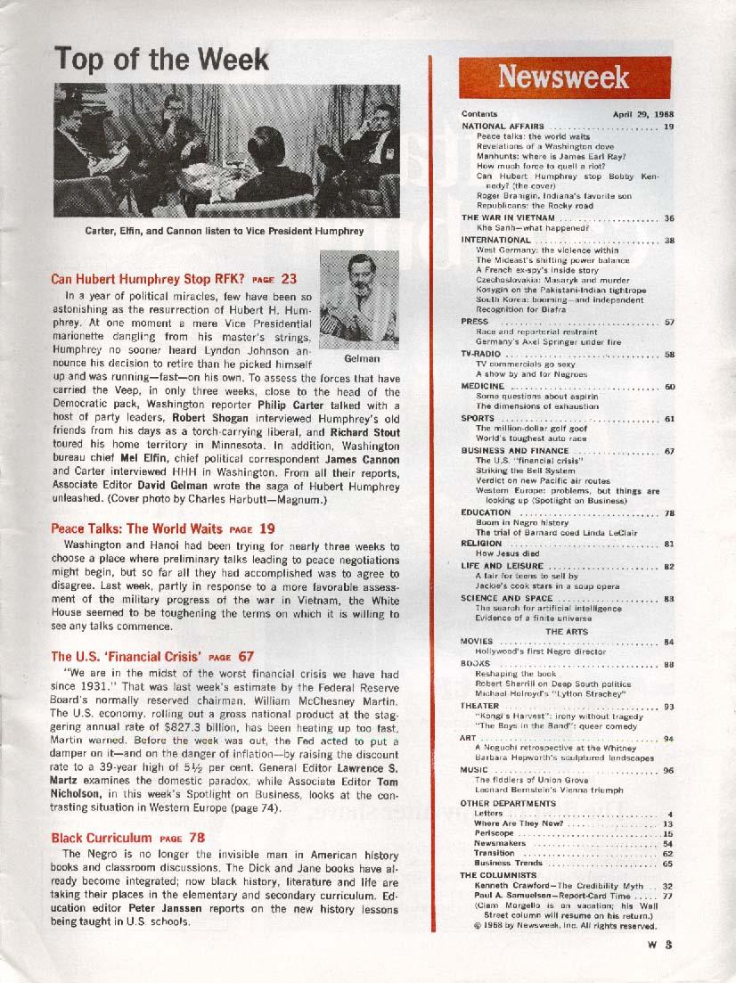 NEWSWEEK Humphrey Bobby Kennedy Vietnam 4/29 1968