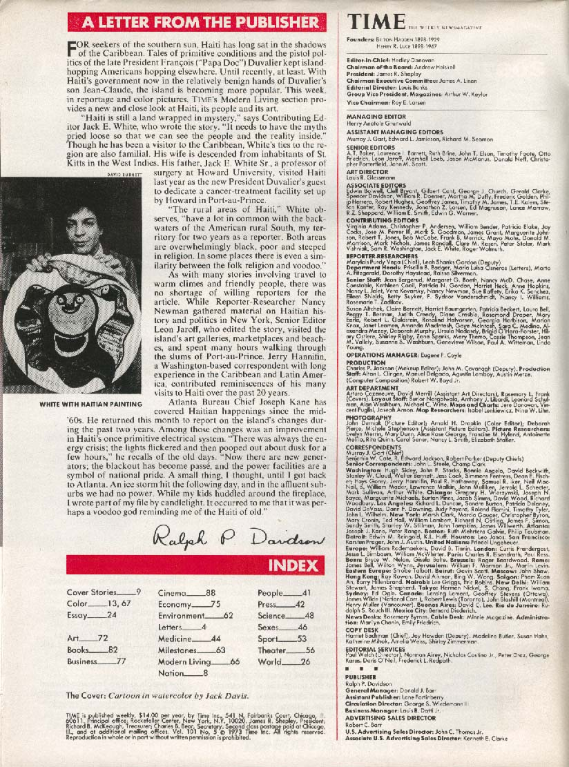 TIME Jack Davis Nixon Kissinger Vietnam 1/29 1973