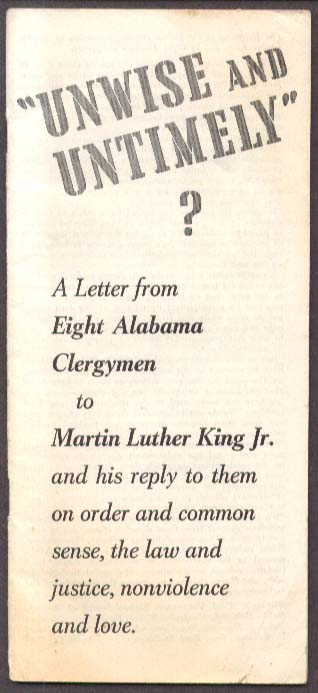 Unwise Untimely Alabama Clergy Martin Luther King 1963