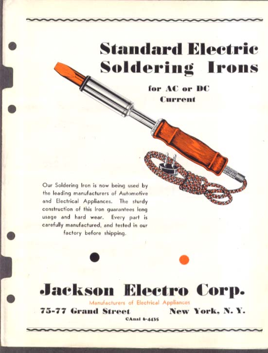 Jackson Electro Soldering Irons sales folder 1930s