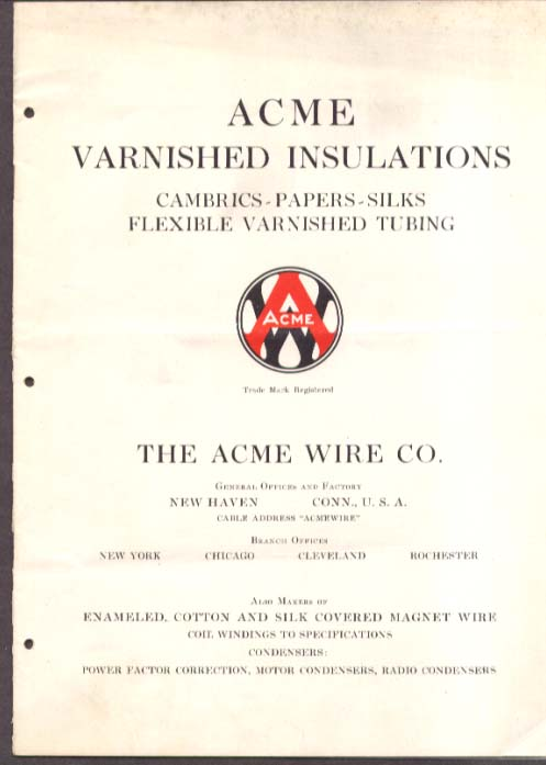 Acme Wire Varnished Insulations Catalog ca 1935