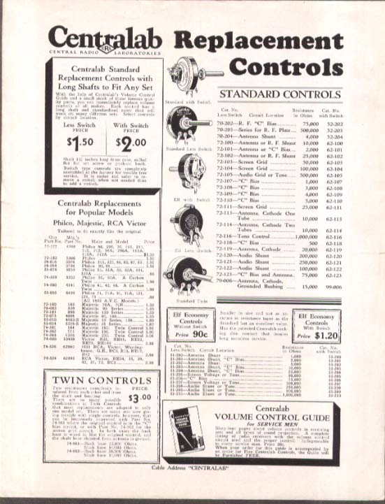 Centralab Radio Replacement Controls flyer 1932