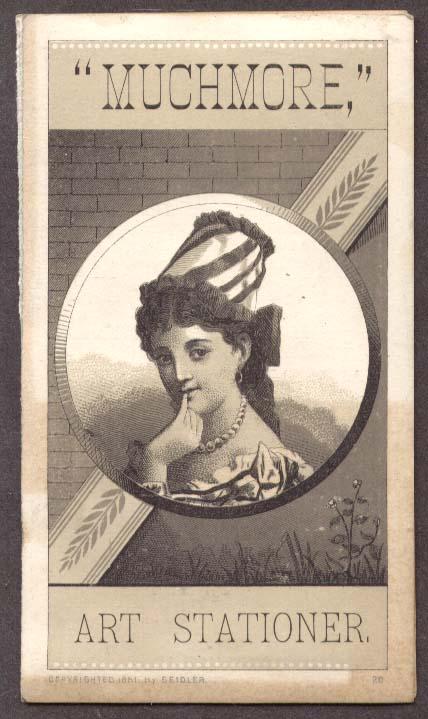Image for J E Muchmore Art Stationer trade card folder 1881