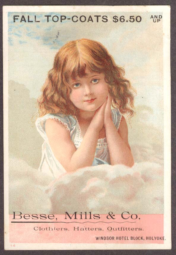 Besse Mills Fall Coat Holyoke MA trade card little girl