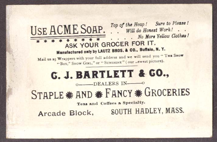 Acme Soap Bartlett Grocer S Hadley MA trade card girl