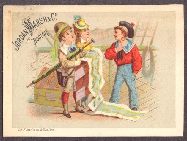 Image for Jordan Marsh Boston trade card sailor & travelers & map