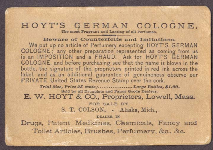 Image for Hoyt's German Cologne Colson Alaska MI trade card
