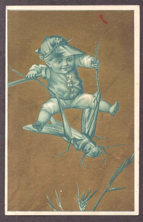 Image for Boy jockey riding grasshopper trade card 1880s